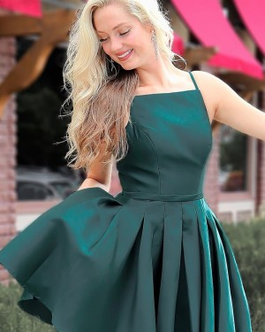 Green Satin Spaghetti Straps Pleated Homecoming Dress HD3537