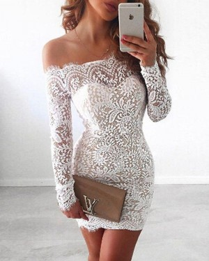 Off the Shoulder Lace White Short Homecoming Dress with Long Sleeves NHD3538