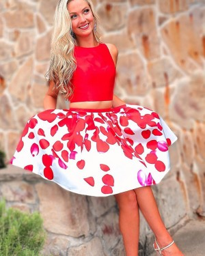 Red Jewel Neck Two Piece Homecoming Dress with Print Skirt HD3540