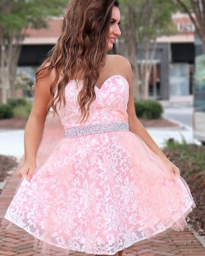 A-line Sweetheart Pink Lace Homecoming Dress with Beading Belt HD3541