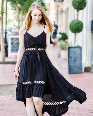 High Low Black Spaghetti Straps Cutout Chiffon Homecoming Dress with Front Knot HD3544