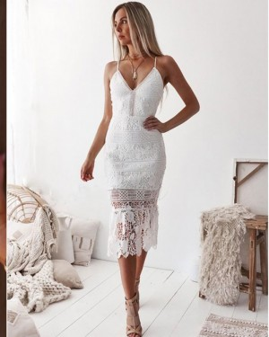 Spaghetti Straps Tight Ankle Length White Lace Formal Dress NHD3544