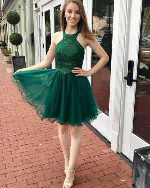 High Neck Green Appliqued Bodice Homecoming Dress HD3545