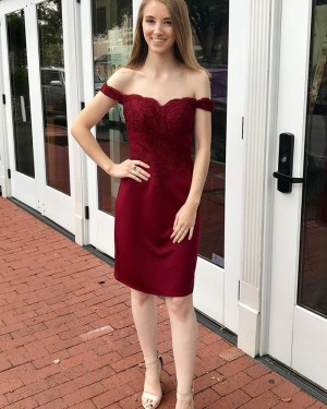 Burgundy Applique Bodice Off the Shoulder Sheath Homecoming Dress HD3546