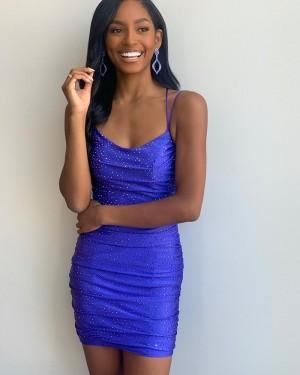 Spaghetti Straps Blue Beading Tight Short Homecoming Dress NHD3550