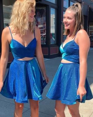 Royal Blue A-line Spaghetti Straps Cutout Homecoming Dress HD3552