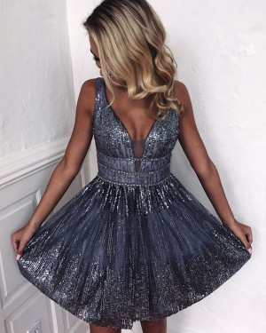 Amazing V-neck Silver Sequin Sparkle Homecoming Dress HD3557