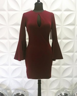 Jewel Neck Cutout Satin Burgundy Tight Short Homecoming Dress with Bell Sleeves NHD3557