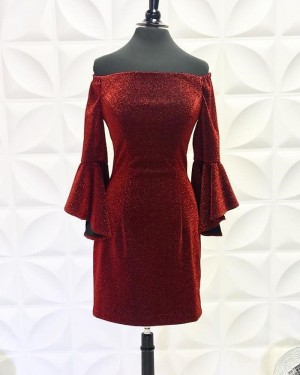 Burgundy Off the Shoulder Metallic Tight Short Homecoming Dress with Bell Sleeves NHD3558