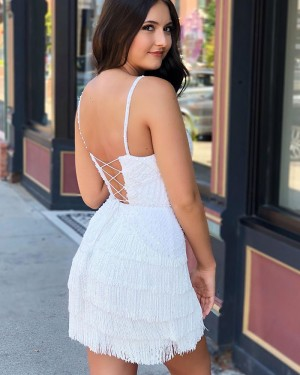 Elegant Tight V-neck White Lace Beading Homecoming Dress with Tassels HD3560