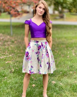 Cold Shoulder Two Piece Floral Print Short Homecoming Dress with Pockets NHD3564
