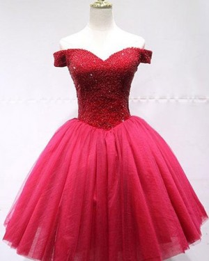 Beading Bodice Tulle Off the Shoulder Red Homecoming Dress HD3565