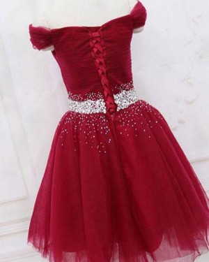 Sparkle Beading Ruched Off the Shoulder Tulle Burgundy Homecoming Dress HD3566