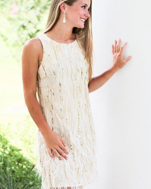 White Tight Jewel Neck Sheath Sequin Homecoming Dress with Feather HD3569