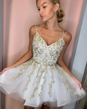 Tulle White Double Spaghetti Straps Homecoming Dress with Gold Lace HD3571
