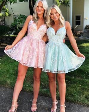 Lace Short Spaghetti Straps Homecoming Dress HD3572
