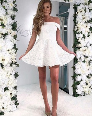 White Lace Short Off the Shoulder A-line Homecoming Dress HD3574