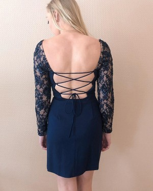 Tight Square Navy Blue Satin Homecoming Dress with Lace Long Sleeves HD3579