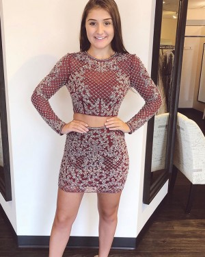 Burgundy Tight Jewel Two Piece Lace Homecoming Dress with Long Sleeves HD3580