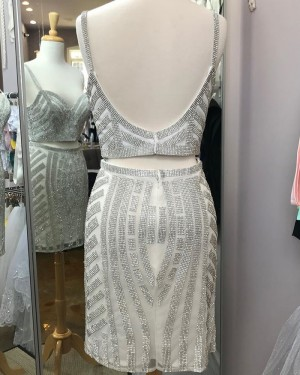 Beading Two Piece Square Neckline Gray Tight Homecoming Dress HD3581