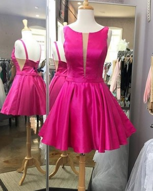 Fuchsia Satin Pleated Simple Scoop Homecoming Dress HD3582