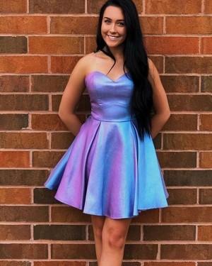 Simple Pleated Satin Sweetheart Homecoming Dress HD3584
