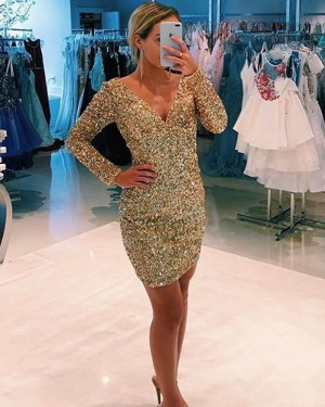 Tight V-neck Gold Beading Club Dress with Long Sleeves HD3587