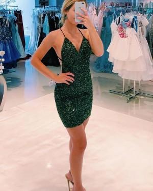 Dark Green Spaghetti Straps Beading Tight Homecoming Dress HD3588
