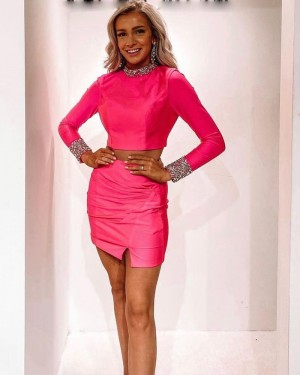Fuchsia High Neck Two Piece Beading Tight Short Homecoming Dress with Long Sleeves HD3599