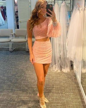 Pearl Pink One Shoulder Two Piece Short Homecoming Dress with Beading Long Sleeves HD3606