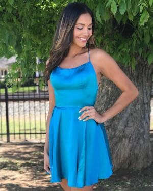 Simple Spaghetti Straps Satin Blue Homecoming Dress HDQ3429