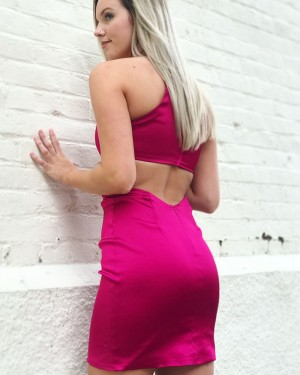 Sexy Tight Short Satin Halter Cutout Back Formal Dress HDQ3432