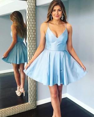 Simple Light Blue Spaghetti Straps Satin Short Formal Dress HDQ3441