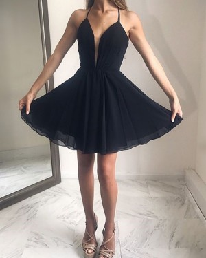 Simple Short Chiffon Pleated Halter Black Formal Dress HDQ3443