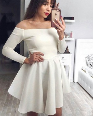 Ivory Satin Off the Shoulder Homecoming Dress with Long Sleeves HDQ3444