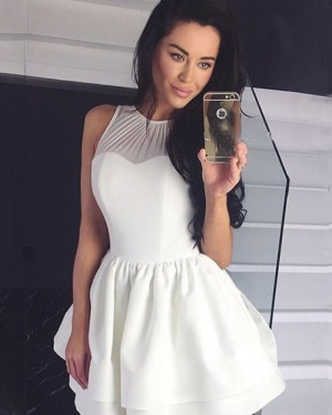 Simple High Neck Ivory Pleated Homecoming Dress HDQ3446