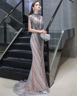 Grey & Champagne High Neck Beading Mermaid Evening Dress with Tassel Cap Sleeves HG118442