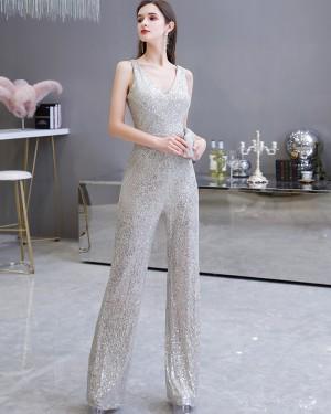 Unique V-neck Sequin Silver Jumpsuit for Evening Party HG20447