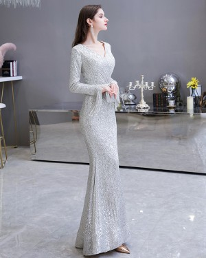 Amazing Silver Sequin Mermaid Evening Dress with Long Sleeves HG24441