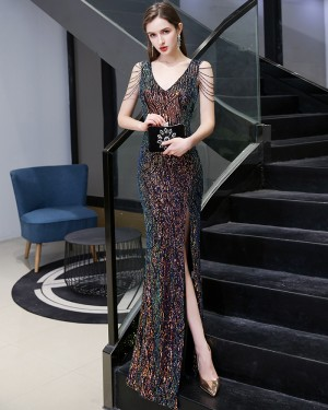 Gorgeous V-neck Colored Sequin Mermaid Style Evening Dress with Beading Sleeves HG24444