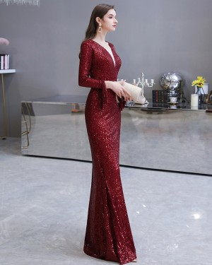 Amazing Burgundy Sequin Mermaid Long Sleeve Evening Dress HG24446