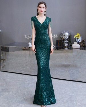 Sequin Green V-neck Mermaid Evening Dress with Tassels Cap Sleeves HG24451
