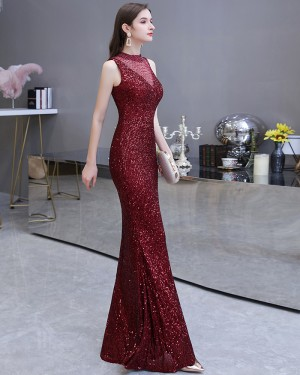 Burgundy Sequin High Neck Mermaid Evening Dress HG24452