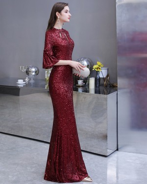 Cutout Sequin High Neck Burgundy Evening Dress with Short Bell Sleeves HG24453