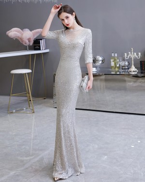 Silver Sequin High Neck Mermaid Evening Dress with Half Length Sleeves HG26454