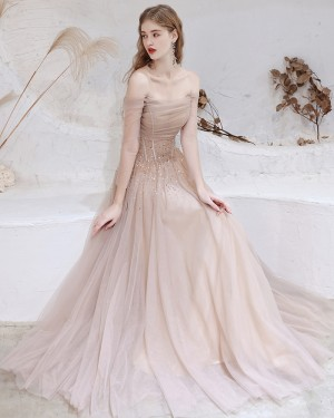 Nude Off the Shoulder Beading Tulle Evening Dress with Long Sleeves HG321015