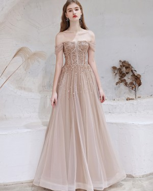 Beading Off the Shoulder Tulle Nude Evening Dress HG361012