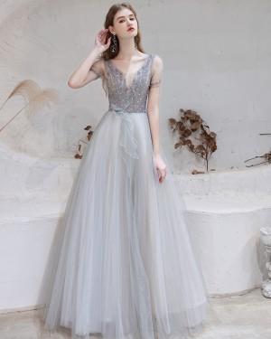 Beading Bodice V-neck Tulle Dusty Blue Evening Dress with Short Sleeves HG361013