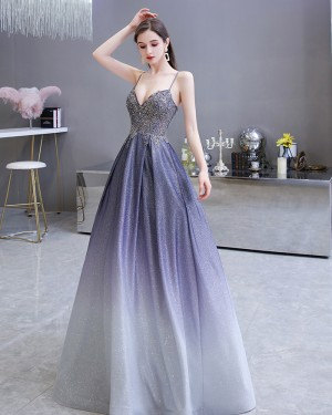 Ombre Starry Sky Satin Spaghetti Straps A-line Evening Dress with Pockets HG39450