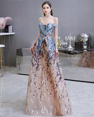 Floral Sequin Off the Shoulder Lace Evening Dress HG45449